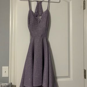 Lilac skater dress with open back